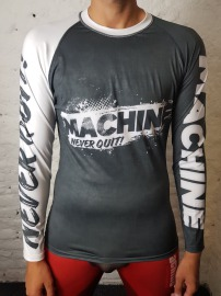 Rashguard MACHINE Train Hard dl. rukáv - černo/bílý