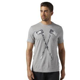 REEBOK Pánské tričko CROSSFIT AXE GRAPHIC TEE - šedé