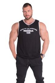 Pánské HARDCORE tílko s lemováním NEBBIA 395 - černé