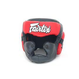 Přilba s lícnicemi a bradou Fairtex HG13F - černo červená