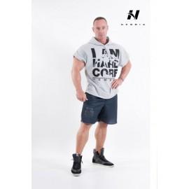 NEBBIA Pánský fitness HARDCORE REGTOP s kapucí - šedé