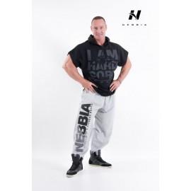 NEBBIA Pánský fitness HARDCORE REGTOP s kapucí - černé
