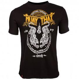 Pánské Muay Thai tričko 8 weapons SAK YANT TIGERS  - černé