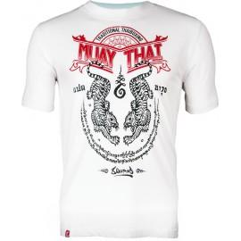 Pánské Muay Thai tričko 8 weapons SAK YANT TIGERS  - bílé