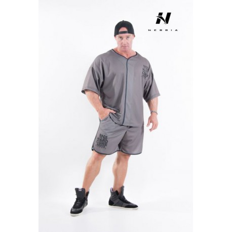 Pánské fitness šortky NEBBIA HARDCORE 302 - khaki