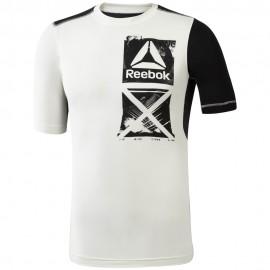 REEBOK Pánské kompresní tričko ACTVCHL GRAPHIC CO - bílé
