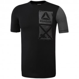 REEBOK Pánské kompresní tričko ACTVCHL GRAPHIC CO - černé