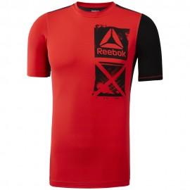 REEBOK Pánské kompresní tričko ACTVCHL GRAPHIC CO - červené