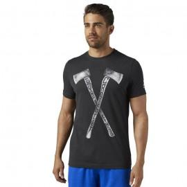 REEBOK Pánské tričko CROSSFIT AXE GRAPHIC TEE - černé