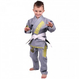 Tatami Dětské Kimono MEERKATSU ANIMAL GI - šedé