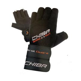 Fitness rukavice CHIBA s omotávkou Wristguard - černé
