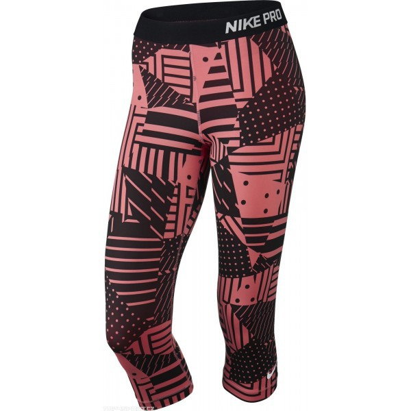 Tréninkové tříčtvrteční legíny Nike Pro Patch Capri - růžové